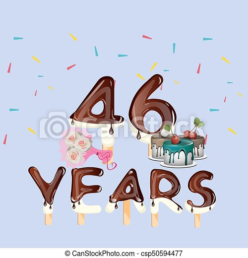 46th Years Happy Birthday Card