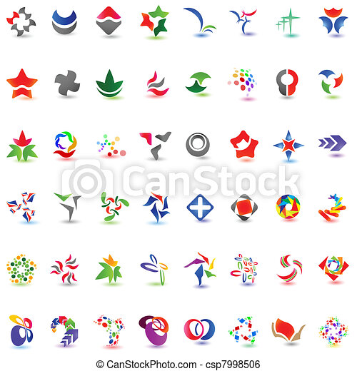 48 different colorful vector icons: (set 1) - csp7998506