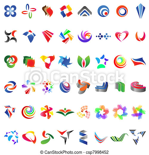 48 different colorful vector icons: (set 6) - csp7998452