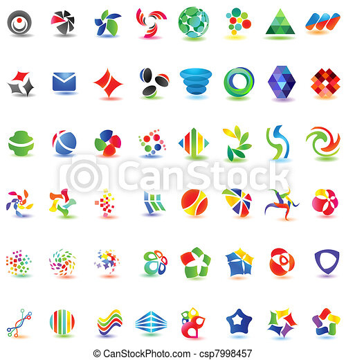 48 different colorful vector icons: (set 2) - csp7998457
