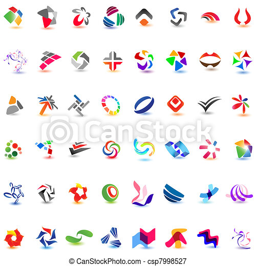 48 different colorful vector icons: (set 7) - csp7998527