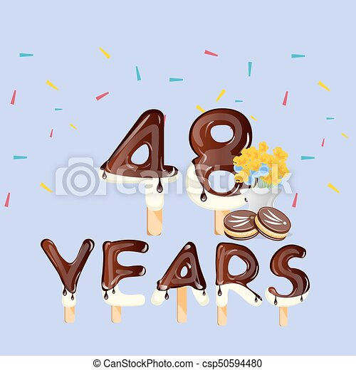 48th Years Happy Birthday card - csp50594480
