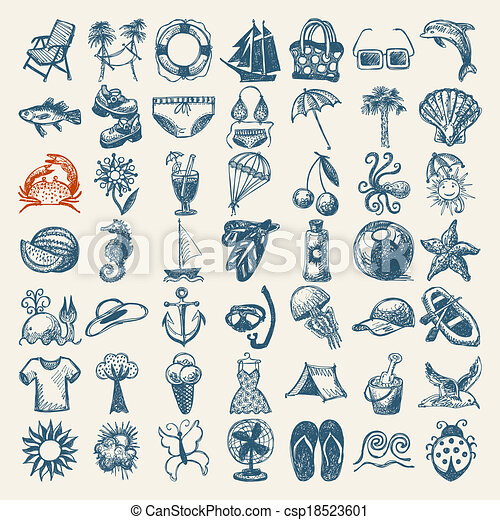 49 hand draw sketch summer icons collection - csp18523601