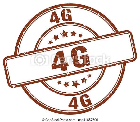 4g brown grunge stamp - csp41657606