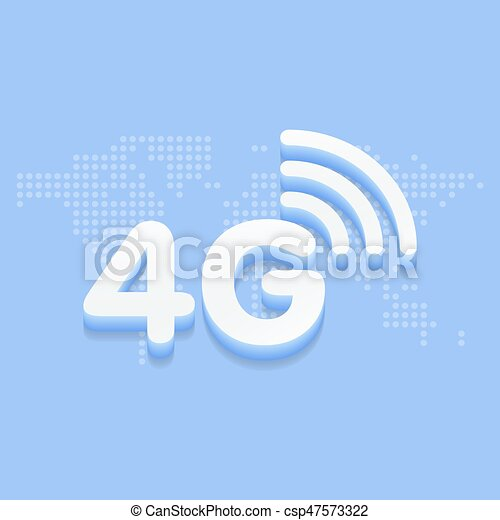 4G fast internet 3d sign in blue background and dotted world map vector  G World Map on skype world map, 4d world map, cdma world map, 1d world map, hotspot world map, 2d world map, gps world map, 4k world map,
