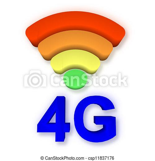 4g, signaal, symbool - csp11837176