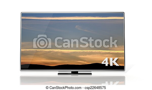4K symbol and display with sunset sky isolated  - csp22648575