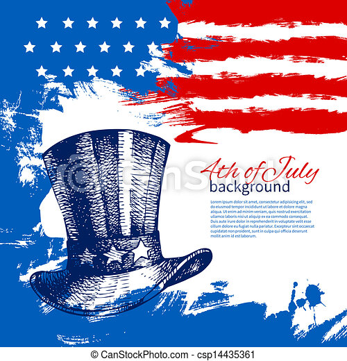 4th of July background with American flag. Independence Day vintage hand drawn design - csp14435361