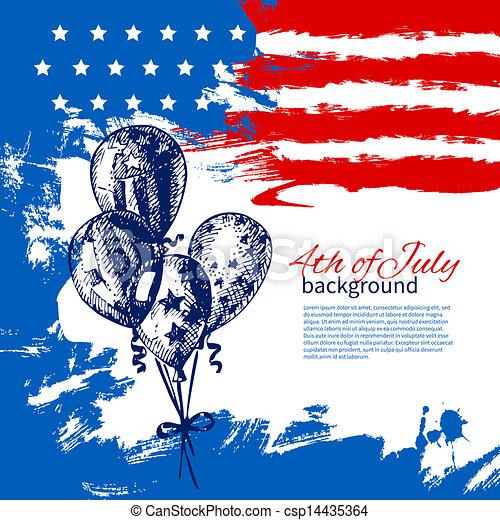 4th of July background with American flag. Independence Day vintage hand drawn design - csp14435364