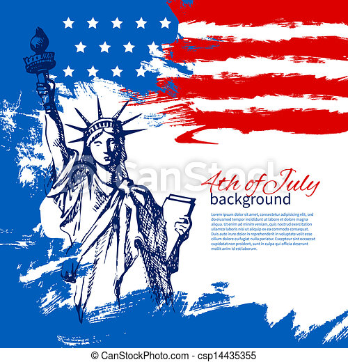 4th of July background with American flag. Independence Day vintage hand drawn design - csp14435355