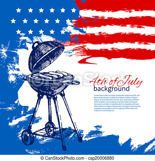 4th of July background with American flag. Independence Day vintage hand drawn sketch design - csp20006880