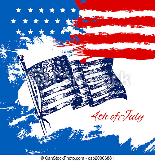 4th of July background with American flag. Independence Day vintage hand drawn sketch design - csp20006881
