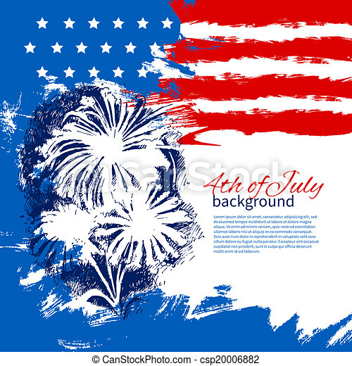 4th of July background with American flag. Independence Day vintage hand drawn sketch design - csp20006882