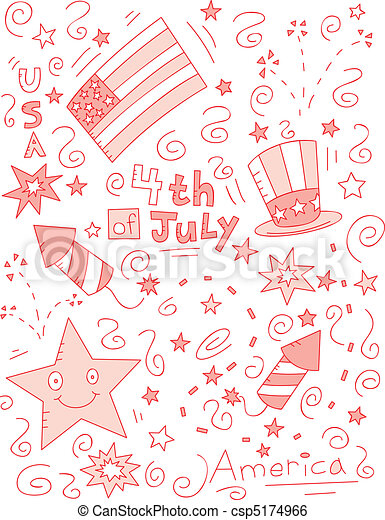 4th of July Doodle - csp5174966