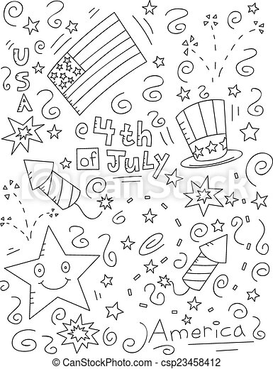 4th Of July Doodle A Cartoon Doodle With A 4th Of July Theme
