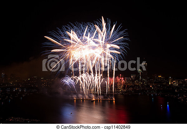 4th of July Fireworks in Boston - csp11402849