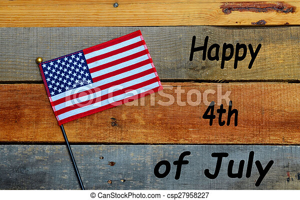 4th of July Flag on pallet wood - csp27958227