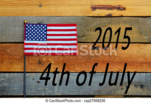 4th of July Flag on pallet wood - csp27958236