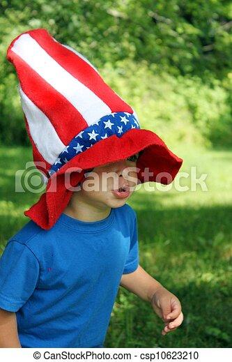4th of July hat on little boy - csp10623210