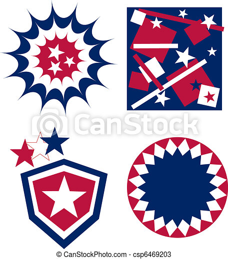 4th of july independence day badge american flag - csp6469203
