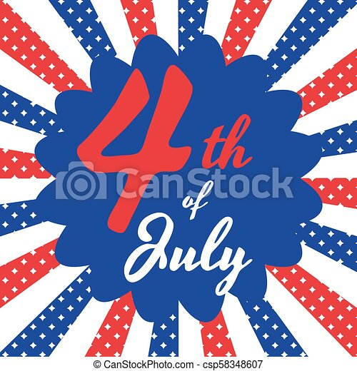 4th of July Independence Day starburst banner background. - csp58348607