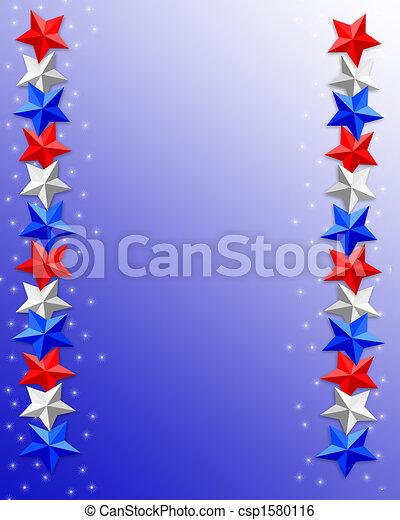 4th of July Patriotic border stars - csp1580116