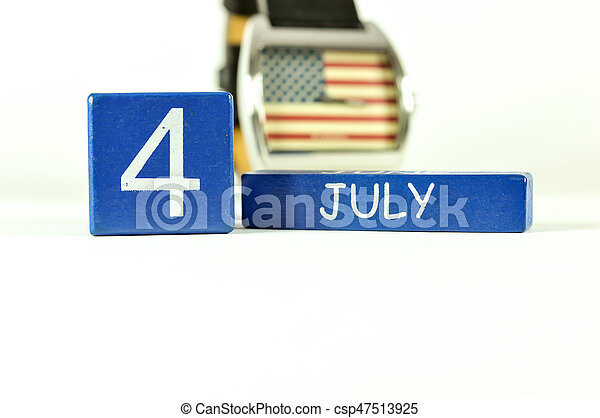 4th of July show on wood calendar - csp47513925