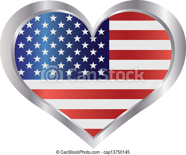 4th of July USA Flag Heart - csp13750145