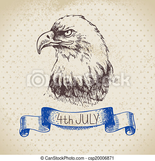 4th of July vintage background. Independence Day of America hand drawn sketch design - csp20006871