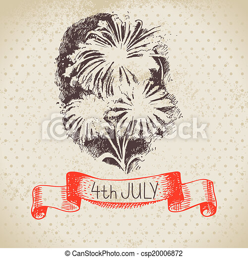 4th of July vintage background. Independence Day of America hand drawn sketch design - csp20006872