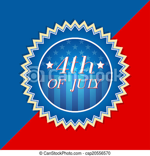 4th of July with american flag - retro label - csp20556570