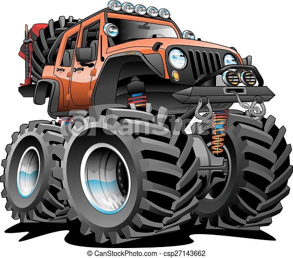 4x4, spento, cartone animato, strada, veicolo - csp27143662