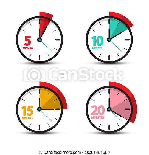 5, 10, 15, 20 Minutes Analog Clock Icons. Vector Time Symbol. - csp61481660