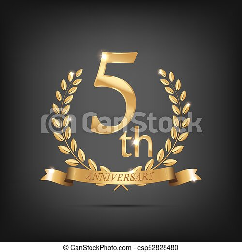 5 Anniversary Golden Symbol Golden Laurel Wreaths With Ribbons And