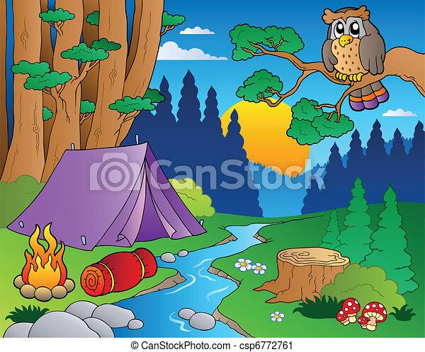 5, cartone animato, paesaggio, foresta - csp6772761