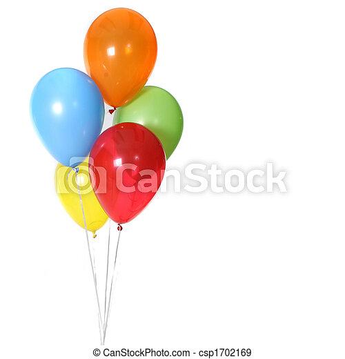 5, cumpleaños, globos, celebración - csp1702169