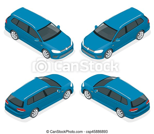 5-door Hatchback car isolated. Vector isometric icons set. Template on white background. The ability to easily change the color. Urban transport. - csp45886893