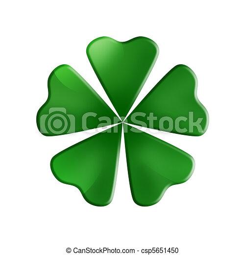 Illustration Of A Green 5 Leaf Clover
