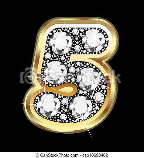 5 number gold and diamond bling - csp10693402