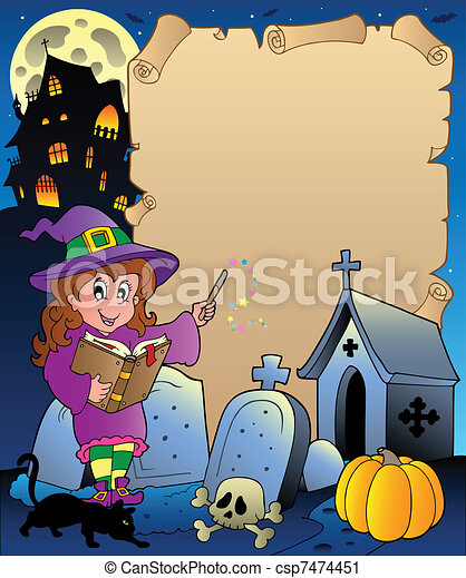 5, thema, halloween, perkament - csp7474451