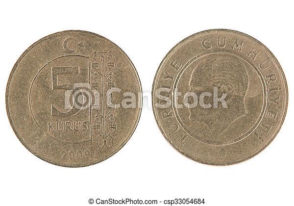 5 turkish kurus coin - csp33054684