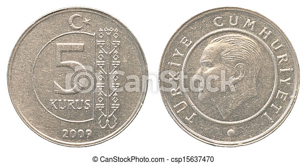 5 turkish kurush coin - csp15637470