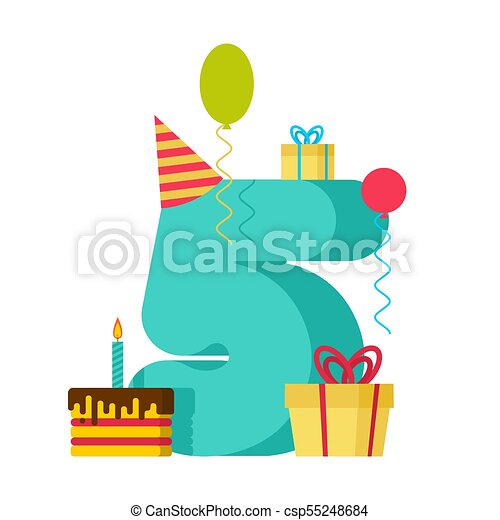 5 year happy birthday greeting card 5th anniversary vector 5 year happy birthday greeting card 5th anniversary celebration template five number and festive bookmarktalkfo Images
