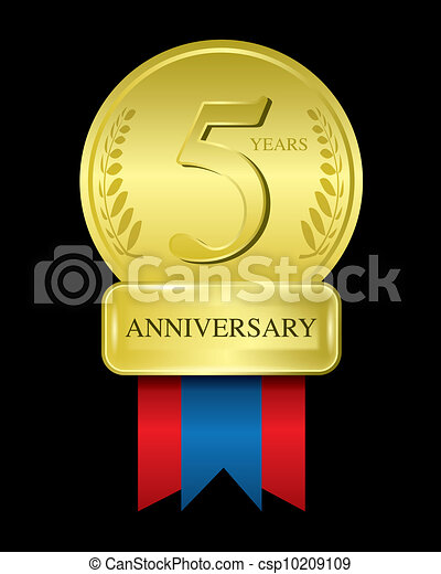 The Abstract Of 5 Years Anniversary Gold Medal