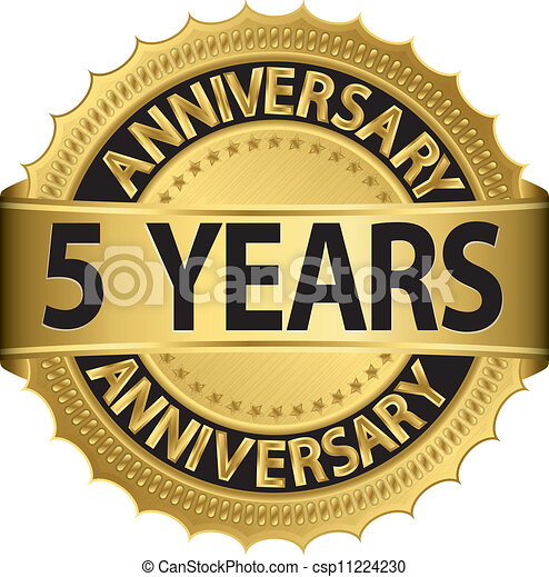 5 years anniversary golden label  - csp11224230