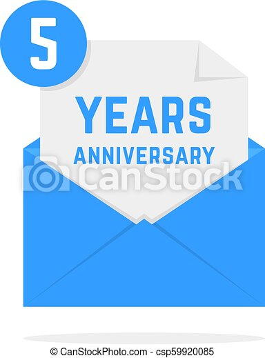 5 years anniversary icon in letter