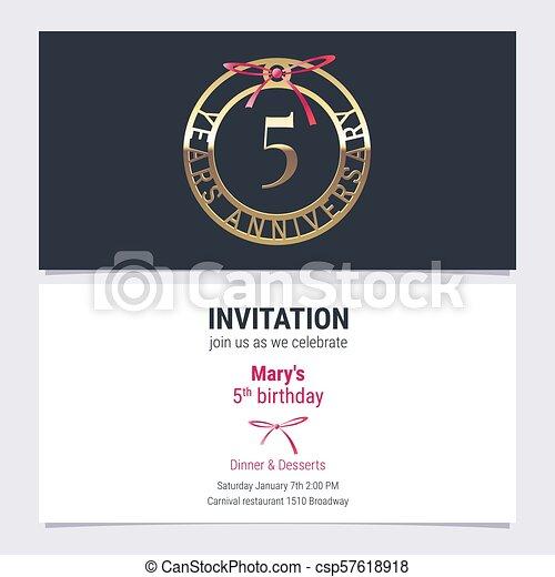 5 years anniversary invitation vector illustration 5 years 5 years anniversary invitation vector illustration stopboris Image collections