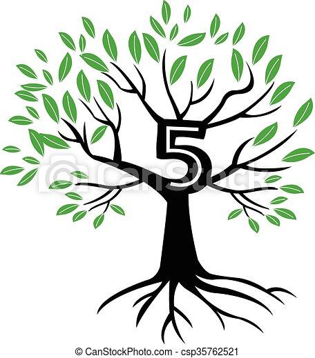 5 Years Anniversary Tree Logo - csp35762521