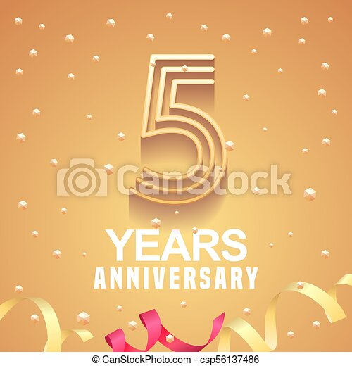 5 Years Anniversary Vector Icon Logo Graphic Design Element With
