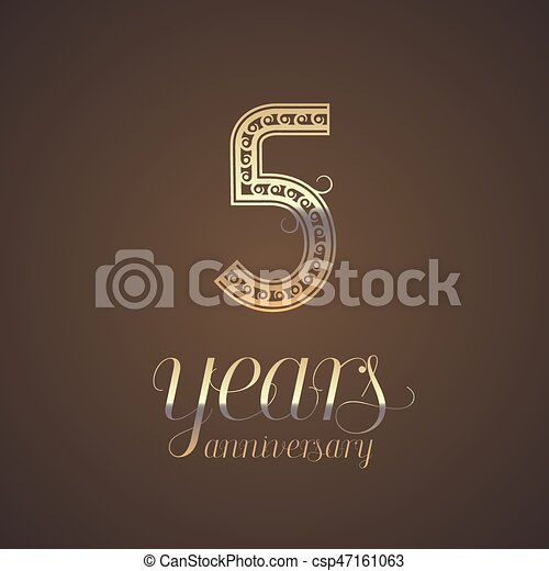 5 Years Anniversary Vector Icon Symbol Graphic Design Element With